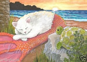 ACEO-art-print-Cat-Mermaid-26-turtle-from-original-funny-painting-by-L-Dumas