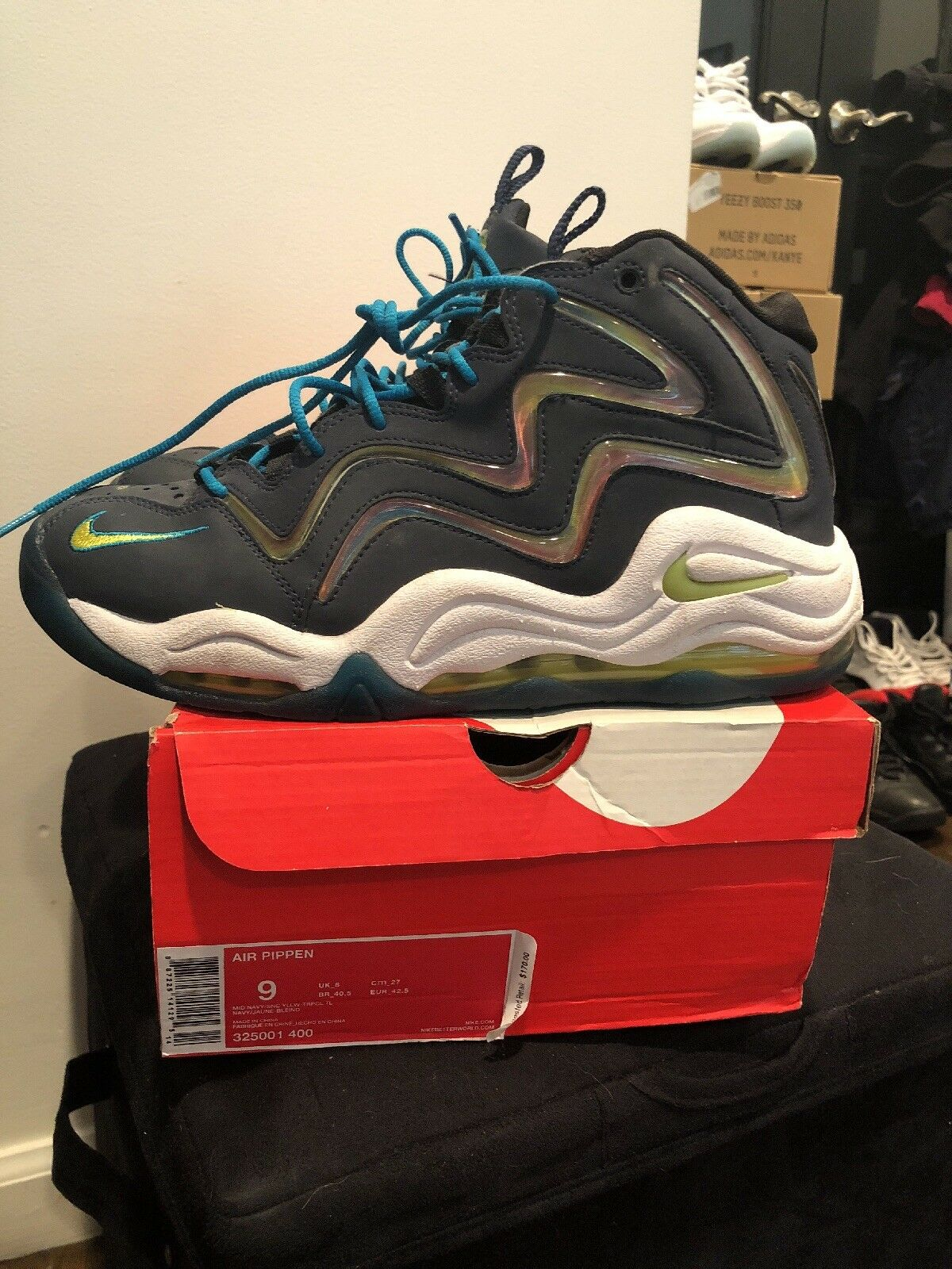 Nike Air Max Uptempo Teal Pippen Hologram 325001-400 Navy Teal Uptempo White Men's Size 9 a49090