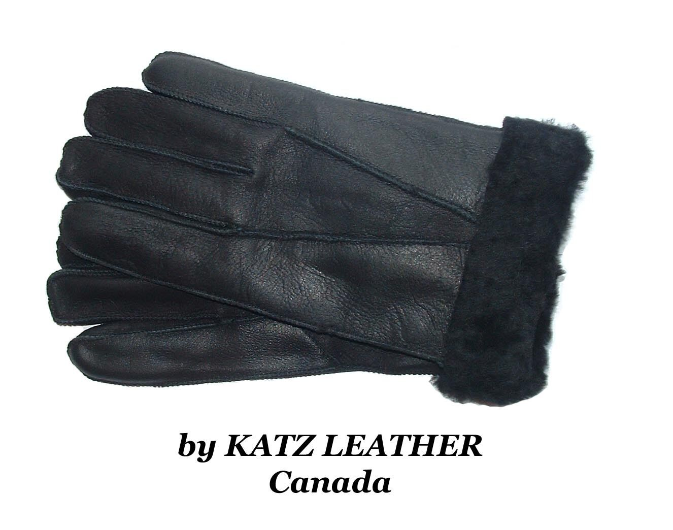 Black 100% Sheepskin Shearling Leather Men's Gloves Warm Winter choose S M L