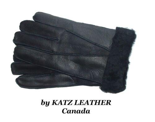 Black 100/% Sheepskin Shearling Leather Men/'s Gloves Warm Winter choose S M L XL