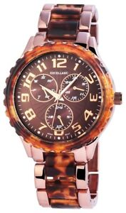 Excellanc-Damenuhr-Braun-Rosegold-Chrono-Look-Analog-Metall-Quarz-X152857000019