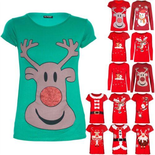 Kids Girls Christmas Glitter Nose Reindeer Face Printed Cap Sleeve Xmas T Shirt