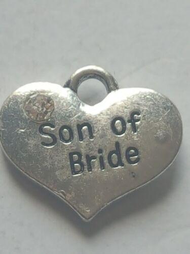 "1 OR 4 /""SON OF BRIDE/"" TIBETAN SILVER RHINESTONE HEART WEDDING THEME CHARM"