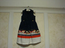 NWT JANIE AND JACK  Estate Stables Girls  Horse Scarf Border Dress  6  Navy