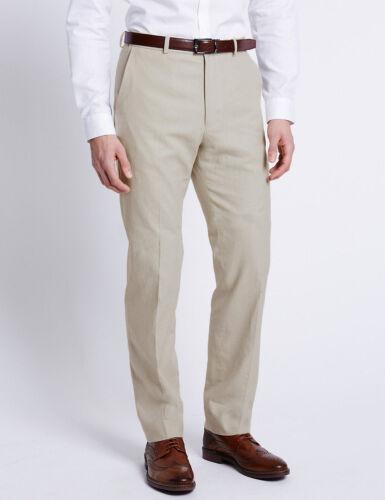 M/&S Misto Lino Pantaloni Pietra di Luce Da Uomo Regular Fit 46W 48W 31L NUOVO