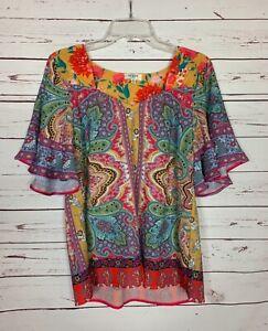 Umgee-USA-Boutique-Women-039-s-M-Medium-Mustard-Gold-Floral-Ruffle-Spring-Top-Blouse