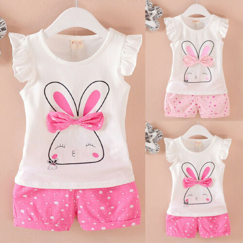 Toddler Infant Baby Kids Girls Fly Sleeve Rabbit Bow Tops Dot Short Outfits Set