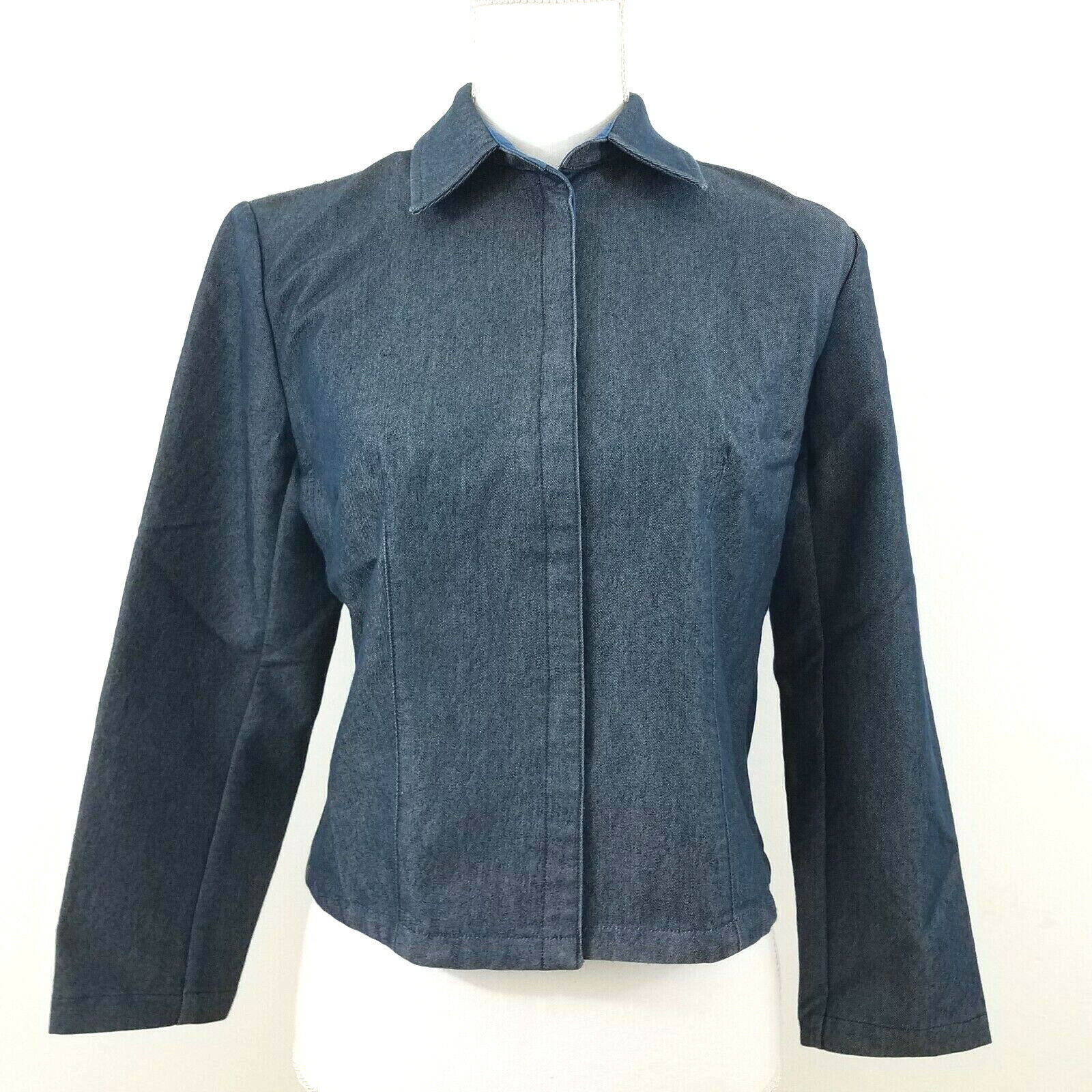 Banana Republic Womens Stretch Jacket Size 4 Navy Snap Buttons Long Sleeve