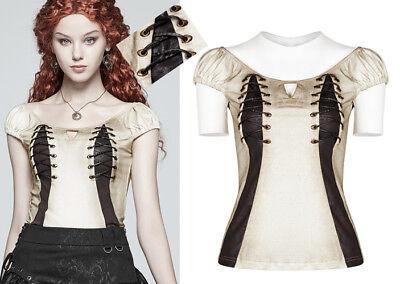 Vintage Tops Oberteil Blusen Gothic Lolita Steampunk Streifen Leder Schnürung
