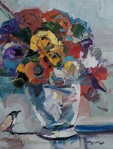 JOSE TRUJILLO Oil Painting IMPRESSIONISM LARGE STILL LIFE FLOWERS BIRD MODERN