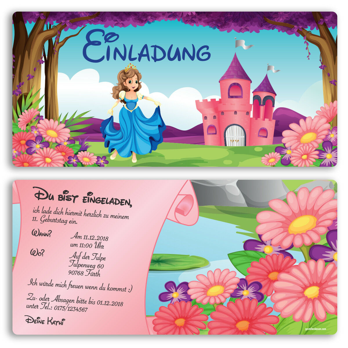 Einladung zum Geburtstag Prinzessin Karte Einladungskarten Kindergeburtstag Kindergeburtstag Kindergeburtstag  | Starke Hitze- und Hitzebeständigkeit  | Ich kann es nicht ablegen  5ab00a