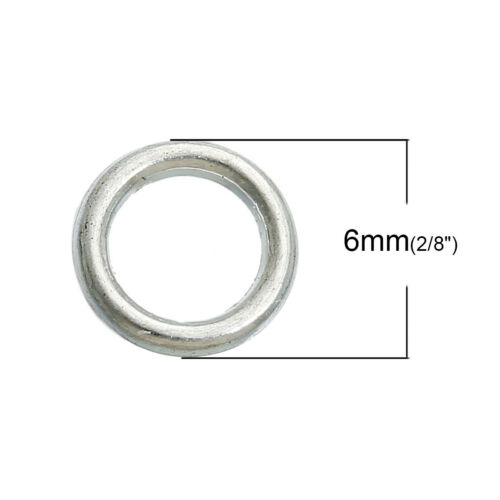 50//100//200pcs 6mm Silver Plated SP closed soldered jump rings findings