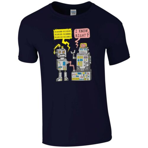 Robot Funny Joke T Shirt Binary Code Nerd Geek Xbox PS4 Video Games Gift Men Top