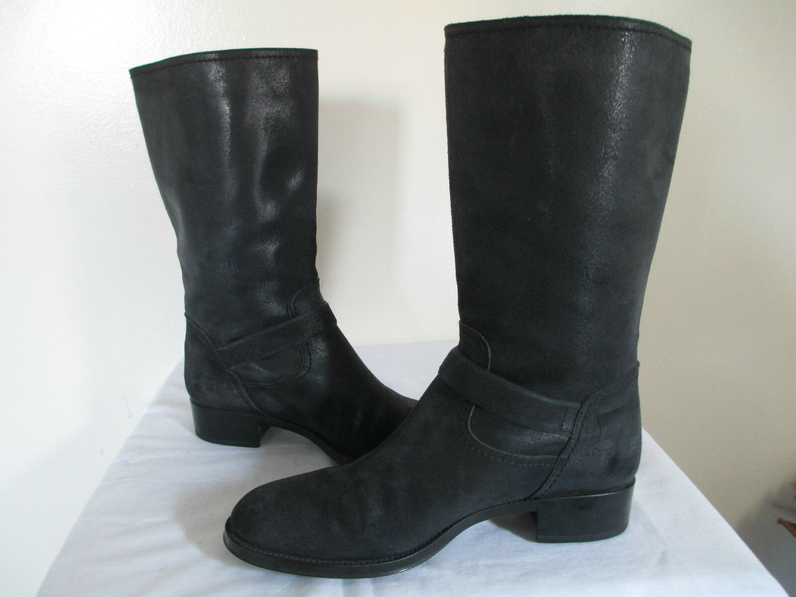 TOD'S noir LEATHER LEATHER LEATHER ROUND TOE MID-CALF DUAL BUCKLE AT SIDE PULL ON bottes SZ 38.5 4ac058