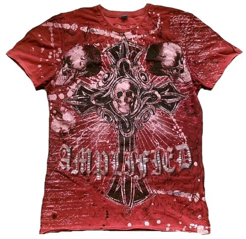 Amplified SAINTS/&SINNERS Gothic Cross Skull King Rock Star Strass T-Shirt g.L//XL