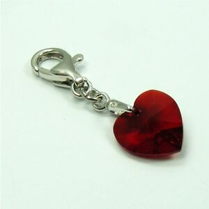 925-STERLING-SILVER-Birthstone-CLIP-ON-CHARM-made-with-SWAROVSKI-Crystal-HEART