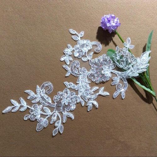 H223 2PC,Motif Embroidery sequins Lace Applique Trims Wedding Sewing dress veil