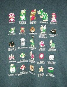 rare-Officiel-NINTENDO-NES-2013-Retro-Homme-M-Gris-Super-Mario-Bros-T-Shirt