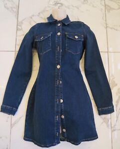 Details about Zara Women Jean Denim Shirt Dress Ladies Long Sleeve Button Mini Dresses UK
