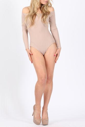 Damen gerippt Bardot schulterfrei Langärmlig Body Körper Top Stretch UK