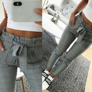 BG-Women-039-s-Plaid-Pleated-High-Waist-Skinny-Pencil-Pants-Trousers-with-Belt-Sigh