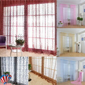 1//2//4 Panels Flower Window Curtain Home Decor Cover Living Room Tulle Sheer US