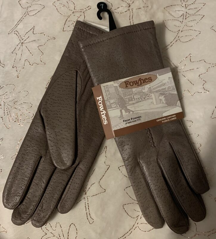 Fownes Taupe Leather Fleece-lined Gloves Womens Size 7 Refreshing And Enriching The Saliva