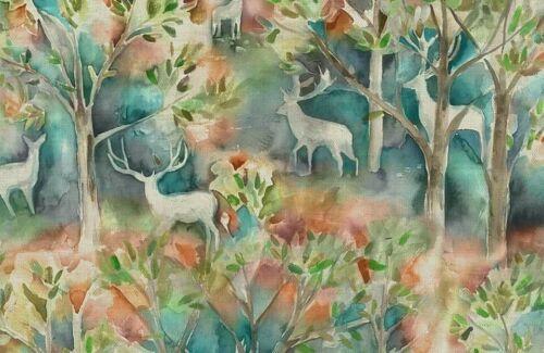 Voyage Maison Seneca Forest AutumnLinen Watercolour Stag FabricPer Meter