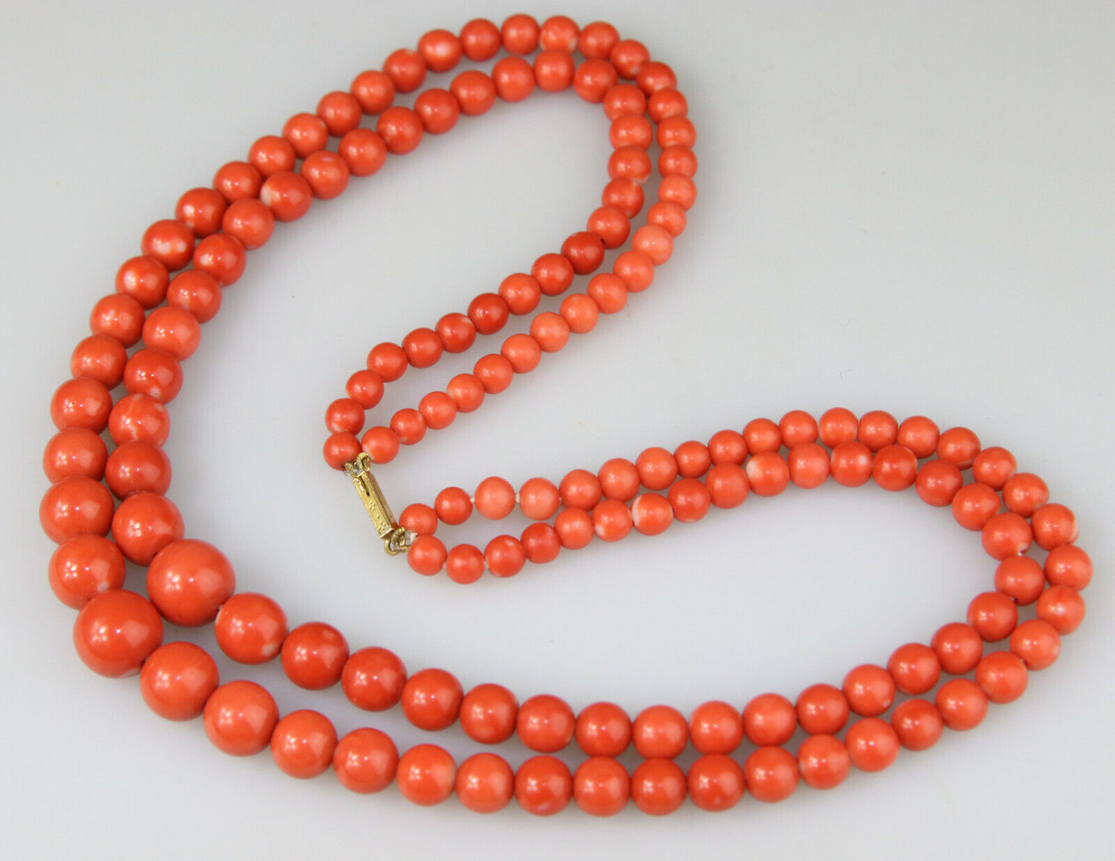 Rare antique red Chinese Red Peking glass bead necklace 18