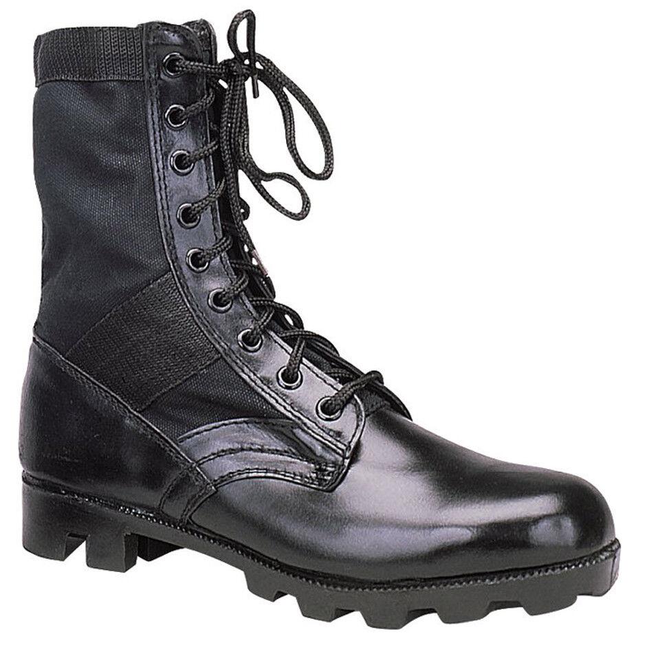 Military style jungle boots black leather nylon upper panama sole redhco 5081