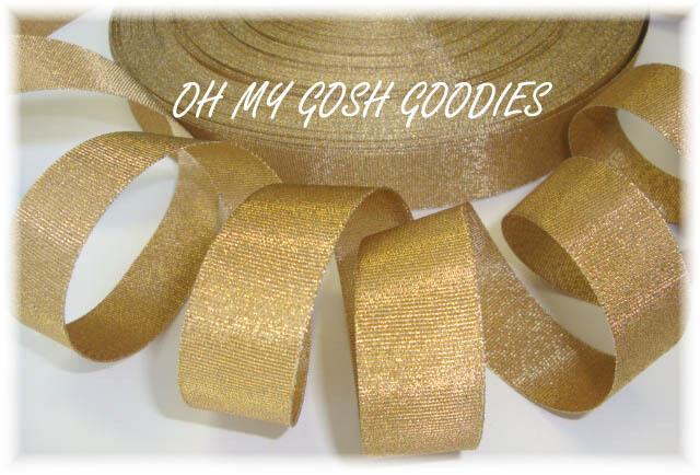 7/8 *OLD* GOLD SHIMMY SHIMMER GLITTER BLING PRINCESS CHEER GROSGRAIN RIBBON