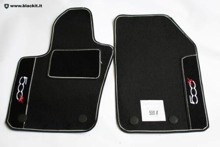 SET TAPPETI AUTO Fiat 500X neri con contorni grigi
