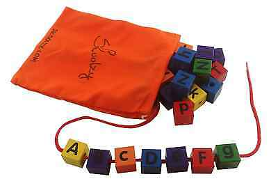 Alphabet Blocks Colored Wood Lacing Montessori Preschool Daycare Motor Skills