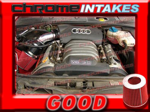 BLACK RED 2002 2003 2004 2005 AUDI A4 A6 A 4//6 3.0 3.0L V6 AIR INTAKE KIT