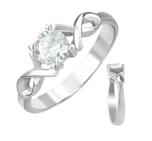 CZ Awareness Ribbon Stainless Steel Promise Ring Sizes 5-9
