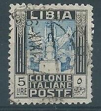 1937 LIBIA USATO PITTORICA 5 LIRE LEGGI NOTE - RR12773