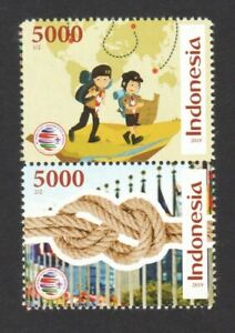 INDONESIA-2019-WORLD-SCOUT-JAMBOREE-MAP-amp-KNOT-SE-TENANT-COMP-SET-OF-2-STAMPS