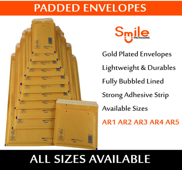 200 x LITE PADDED ENVELOPES BUBBLE MAIL BAGS 150x215 mm AR3 C//0 GOLD COLOUR