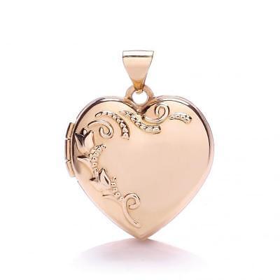 Precious Metal Without Stones Fine Jewelry 19x19mm Products Hot Sale Devoted 9ct Oro Rosa Con Diseño Forma De Corazón Guardapelos