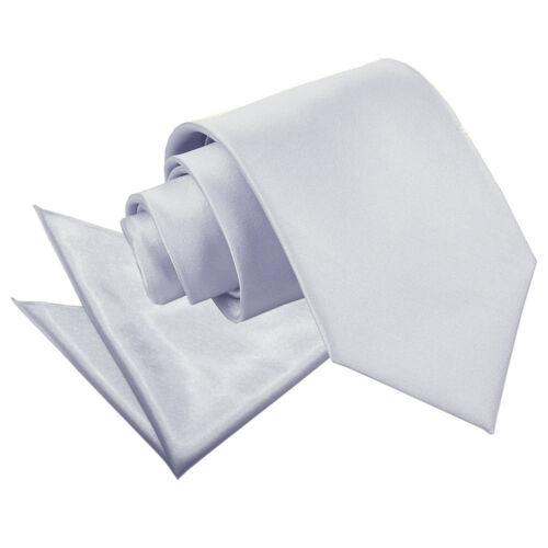 DQT Satin Plain Solid Silver Mens Classic Tie /& Hanky Wedding Set