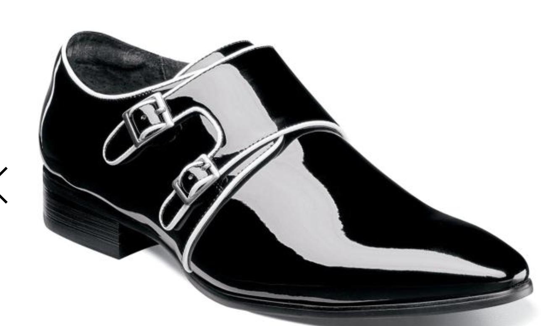 negozio online outlet Stacy Adams Adams Adams Uomo Double Monk Strap Blk Wht Patent Leather Dress scarpe 25223-111  qualità ufficiale