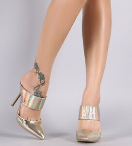 Gold Hologram High Heel Mule Slide Pointed Toe Stiletto Pump Womens