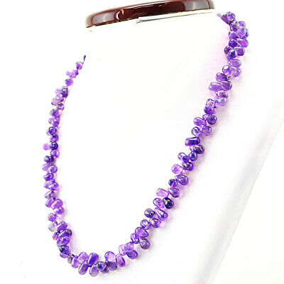 170.00 Cts Earth Mined 20 Inches Long Purple Amethyst Untreated Beads Necklace