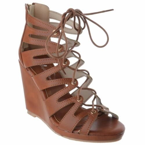 New Womens Ladies High Heels Wedges Lace Zip Up Platform Sandals Shoes Size 3-8