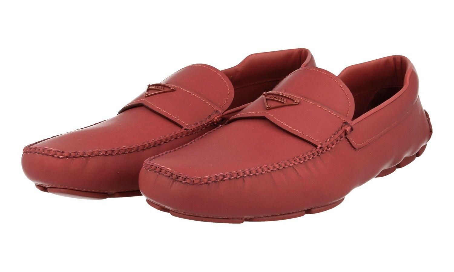 AUTHENTIC LUXURY PRADA LOAFER SHOES 2DD127 RED RUBBERISED LEATHER NEW 9 43 43,5