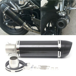 Universal-Carbon-Fiber-Motorcycle-Clamp-On-Exhaust-Muffler-Pipe-w-DB-Killer-NEW