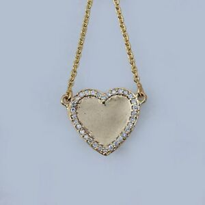 Natural-0-34-Ct-Diamond-Pave-Heart-Charm-Pendant-Necklace-Solid-14k-Yellow-Gold