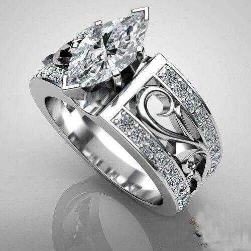 Luxe Argent 925 Hommes /& Femme Rhombus Cut Blanc Topaze Anneau Mariage Cadeau Taille 5-10