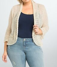 Torrid Tan Mix Stitch Open Delicate Shrug Cardigan Sweater Sz: 4 4X 26 #59569