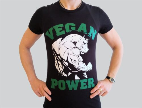 Vegan Power gym régime Fit Healthy Vegetarian T shirt american apparel M F Style